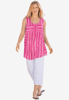 Striped Sleeveless Tunic, RASPBERRY SORBET TONAL STRIPES