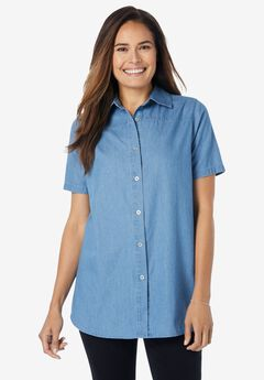 Short-Sleeve Denim Shirt, LIGHT STONEWASH