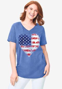 Cuffed Americana Print Tee, AMERICANA HEART
