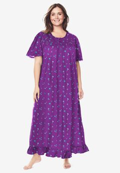 Long Floral Print Cotton Gown , FRESH BERRY FLOWERS