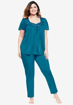 Silky 2-Piece PJ Set by Only Necessities®, DEEP TEAL SOLID