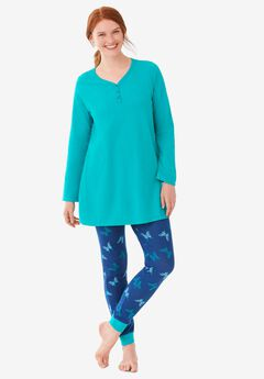 Henley Tunic & Jogger PJ Set by Dreams & Co.,