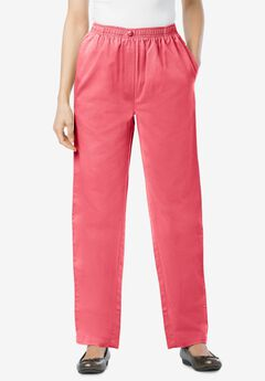 Elastic-Waist Cotton Straight Leg Pant, ROSE PINK