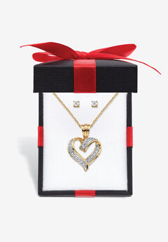 "Yellow Gold-Plated Heart Pendant with Genuine Diamond Accent on 18"" Chain,"