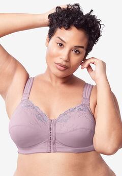 Front-Close Embroidered Wireless Posture Bra by Comfort Choice®, SUNSET MAUVE