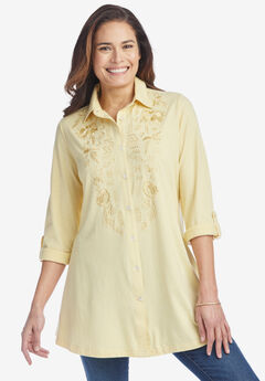 Button-Front Embroidered Tunic,