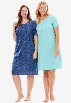 2-Pack Short-Sleeve Sleepshirt by Dreams & Co.®, LETS DREAM