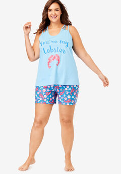 Racerback Cami Shorty PJ Set by Dreams & Co.®, RIVER BLUE LOBSTER