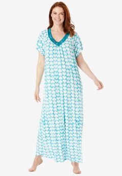 Lace Knit Gown, DARK TURQ TIE DYE HEARTS