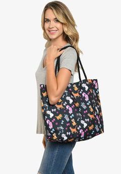 Disney Cats Tote Bag Travel Beach Carry-on Cheshire Aristocat Figaro Print,