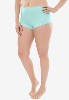 Comfort Choice® Lace-trim Cheeky Boyshort, FRESH AQUA