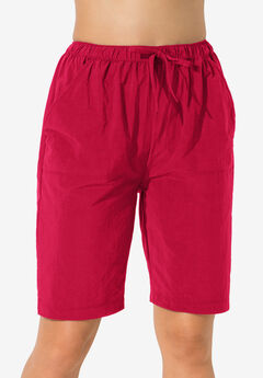 Taslon® Coverup Board Shorts with Built-In Brief, RED