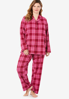 Classic Flannel Pajama Set by Dreams & Co.®, POMEGRANATE PLAID