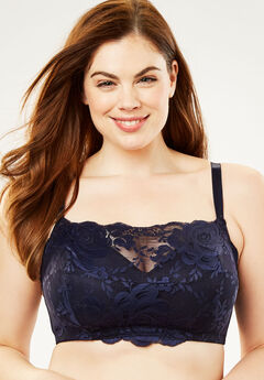 Lace Wireless Cami Bra by Comfort Choice®, NAVY