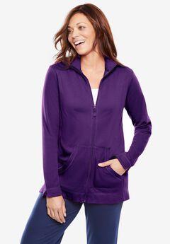 Long-Sleeve Zip Front Jacket,
