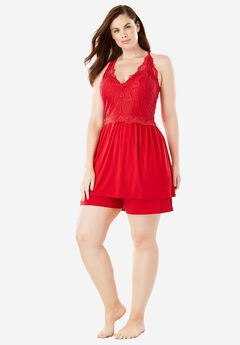 Lace Accented Tank and Short Pajama Set by Amoreuse®,