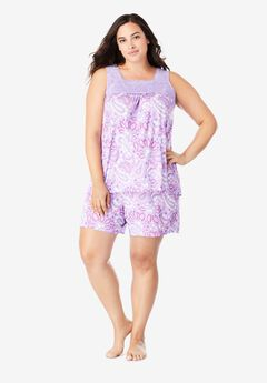 Lace-Trim Short Pajama Set,