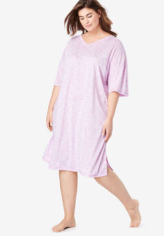 Short Marled Sleepshirt by Dreams & Co.®, LIGHT ORCHID