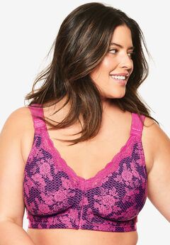 Front-Close Cotton Wireless Posture Bra by Comfort Choice®, RICH VIOLET LACE PRINT