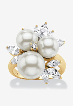 Yellow Gold over Sterling Silver Pearl and Cubic Zirconia Ring,