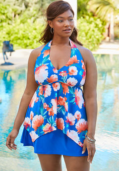 Flared Halter Tankini Top , ROYAL BLUE FLORAL