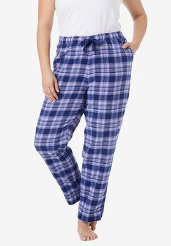 Cotton Flannel Pants , EVENING BLUE PLAID