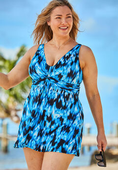 Twist-Front Swim Dress ,