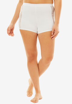 Lace Trim Boyshort, WHITE