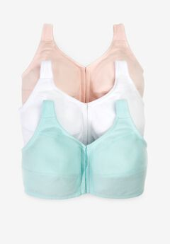 3-Pack Front-Close Cotton Wireless Bra by Comfort Choice®,