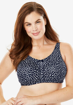 Cotton Wireless Bra by Comfort Choice®, NAVY DOT Q2