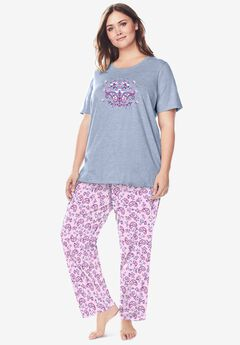 Graphic Tee PJ Set by Dreams & Co®, PINK PAISLEY