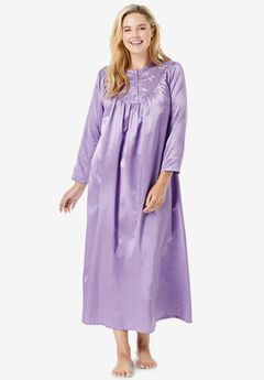Embroidered Bib Brushed Satin Nightgown , SOFT IRIS