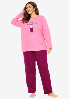 Long Sleeve Knit PJ Set by Dreams & Co.®, POMEGRANATE COFFEE
