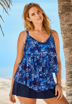 Tiered-Ruffle Tankini Top ,
