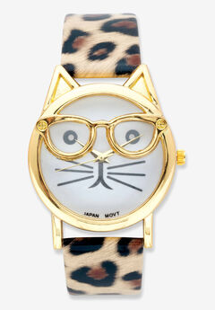 Gold Tone Leopard Print Cat Watch, 7.5 inches plus Extender,