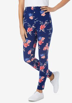Stretch Cotton Printed Legging, EVENING BLUE WILD FLORAL