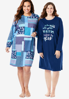 2-Pack Long-Sleeve Sleepshirts by Dreams & Co.®,