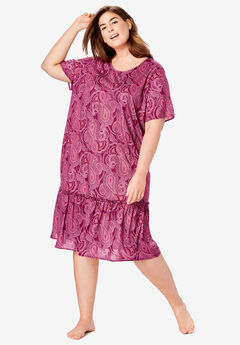 Cool Dreams Peplum Sleep Shirt by Dreams & Co.®, POMEGRANATE PAISLEY