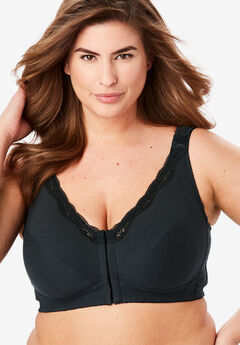 Front-Close Cotton Wireless Posture Bra by Comfort Choice®, BLACK