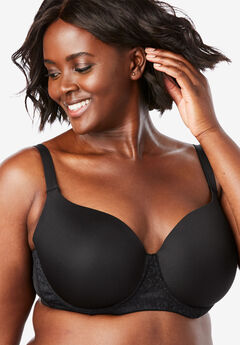 Lace Trim Balconette T-Shirt Bra by Comfort Choice®, BLACK