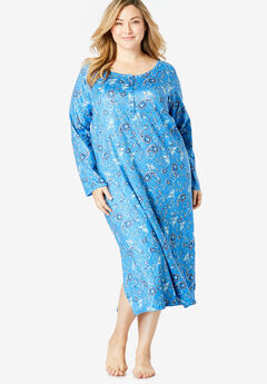 Dreams & Co.® Lightweight Henley Sleepshirt, CORNFLOWER MULTI PAISLEY
