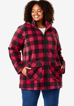 Hooded Mock Neck Fleece Coat,
