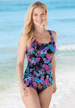 One-Piece Tank Swimsuit with Adjustable Straps ,