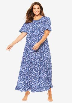 Long Floral Print Cotton Gown by Dreams & Co.®, BLUE SAPPHIRE BUD