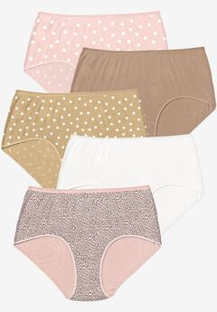 5-Pack Pure Cotton Full-Cut Brief , DOT PACK