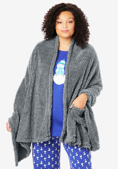 Sherpa Fleece Wrap, GUNMETAL