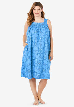 Print Sleeveless Square Neck Lounger by Dreams & Co.®, CORNFLOWER BLUE MEDALLION