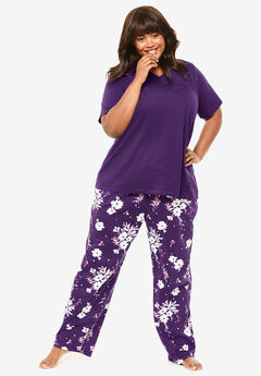 Knit Sleep Pant by Dreams & Co.®, RICH VIOLET BUD