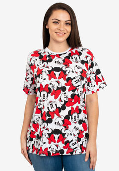 Disney Women's Minnie Mouse Faces Red Bows All-Over Print T-Shirt White,