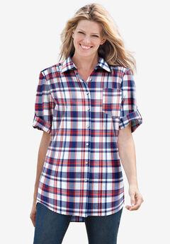 Short Sleeve Button Down Seersucker Shirt, RED WHITE BLUE PLAID